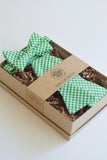Father & Son Bow Tie Set in Green Gingham Check