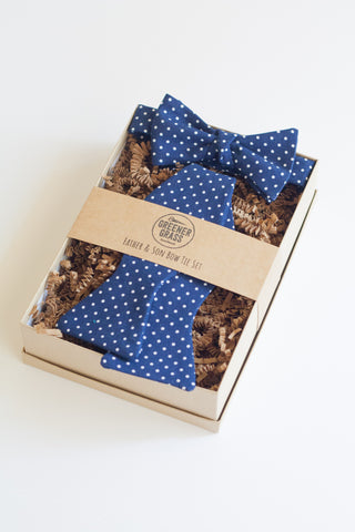 Father & Son Bow Tie Set in Navy Swiss Dot