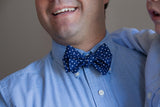Men's Bow Tie in Blue Seersucker