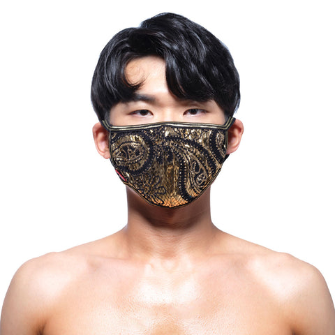 [M2W] Face Mask Metal Paisley Gold (0111-61)