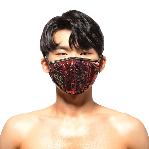 [M2W] Face Mask Metal Paisley Red (0111-62)