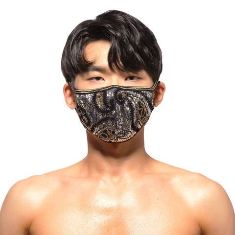 [M2W] Face Mask Metal Paisley Silver (0111-63)