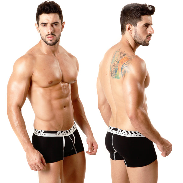 [M2W] Cotton Short Boxer Black 7Inch (3022-20)
