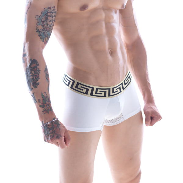 "[M2W] Grid Short Boxer White 7"" (3042-00)"