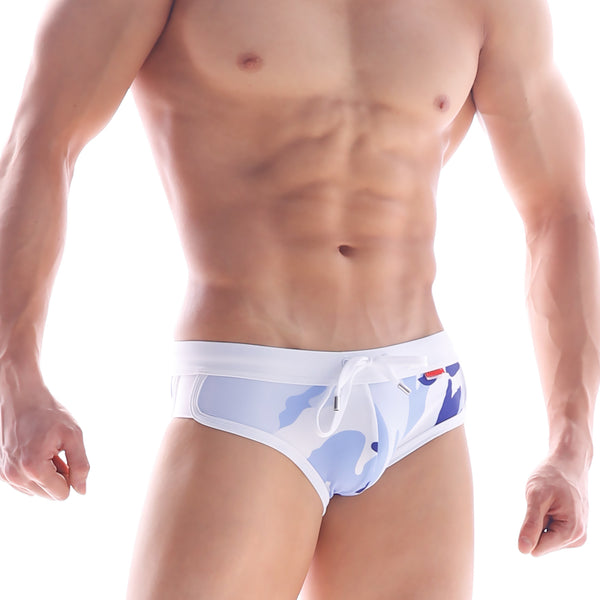 [M2W] White Camo Split Swim Brief (4923-85)