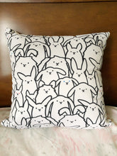 Bunnies Everywhere Monochrome Square Pillow