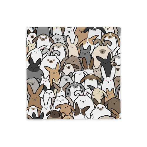 Bunnies Everywhere Colored Square Pillow Case