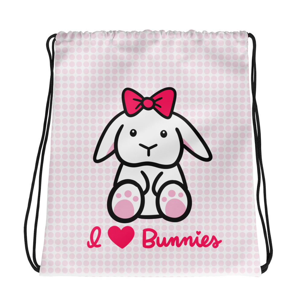 I Love Bunnies Drawstring bag