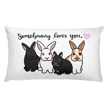 Somebunny Loves You 4 Bunnies Rectangular Pillow