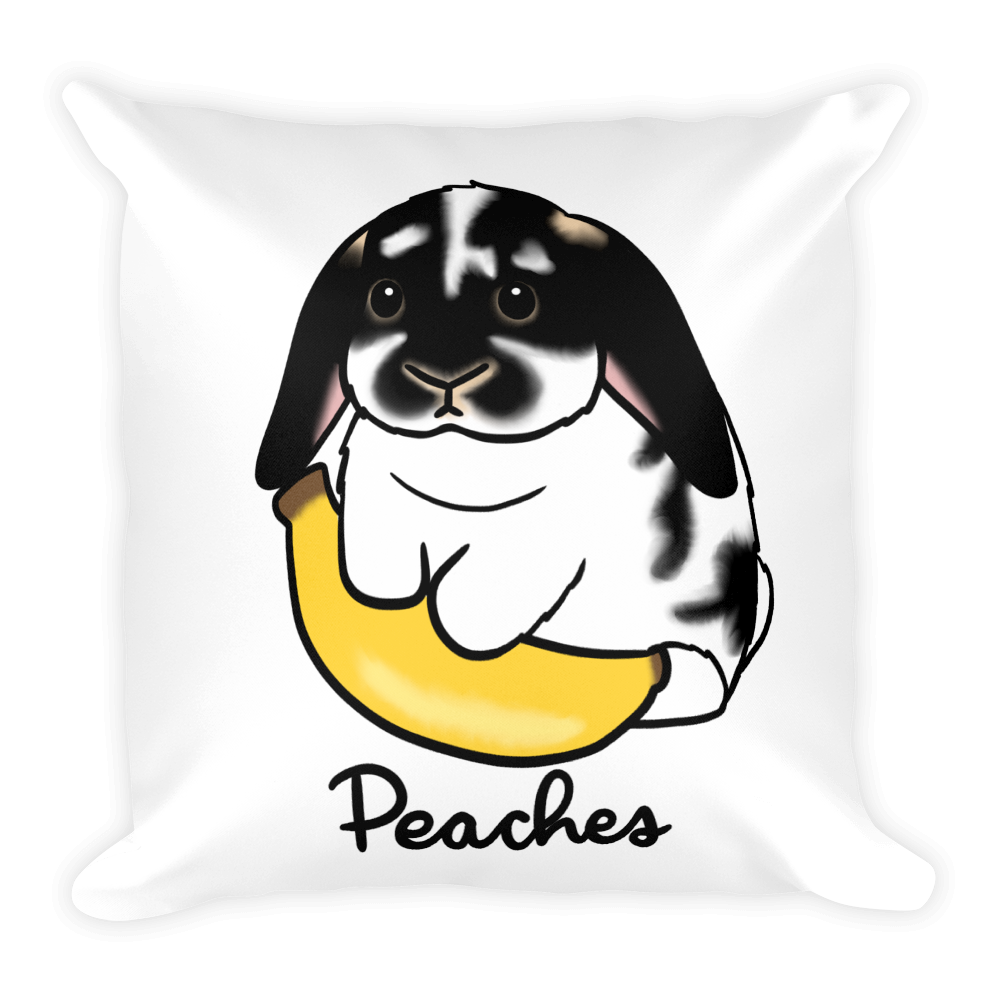 Peaches and Banana Square Pillow