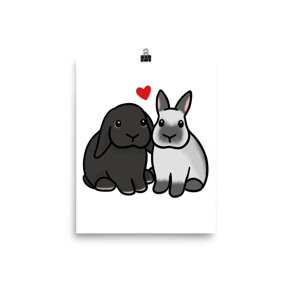 Lop Heart Dwarf Bunny Poster