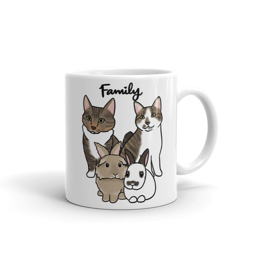 Family Two Cats and Bunnies Mug