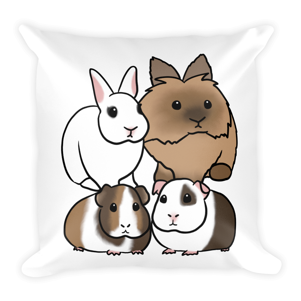 Two Bunnies Two Guinea Pigs Square Pillow