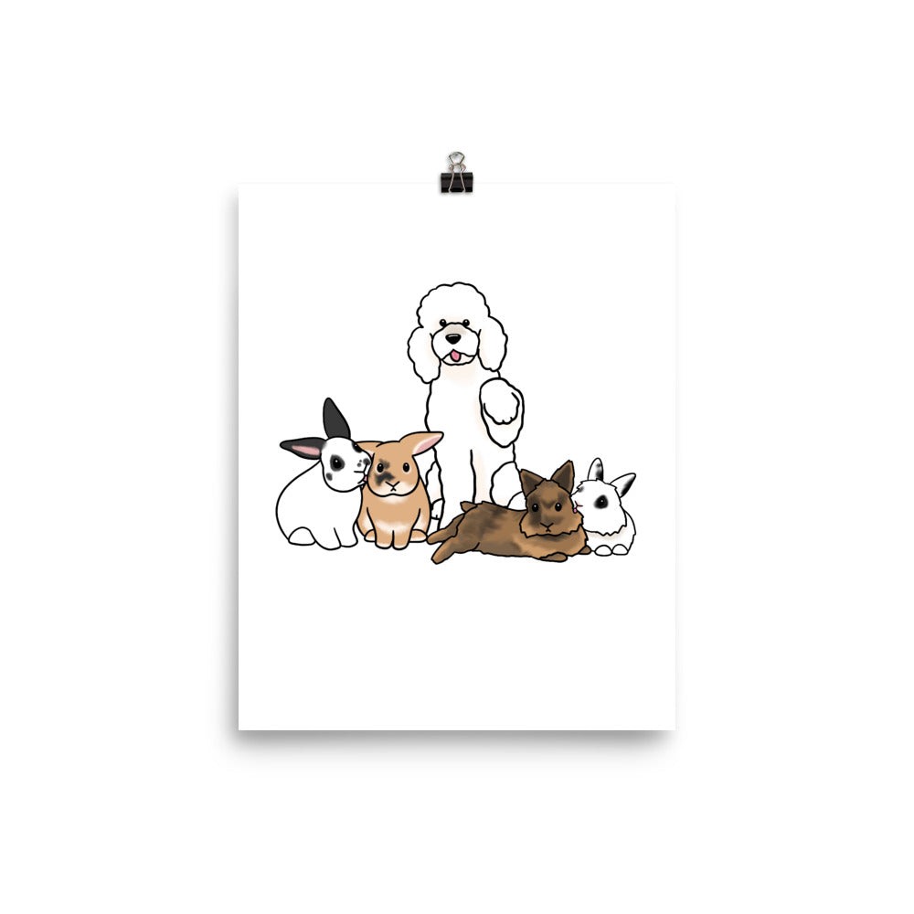 Poodle and Four Bunnies Poster