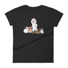 Poodle and Four Bunnies Hats Women's T-shirt