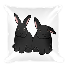 Two Black Bunnies Square Pillow