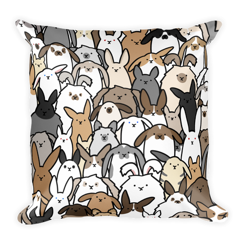 Bunnies Everywhere Colored Square Pillow