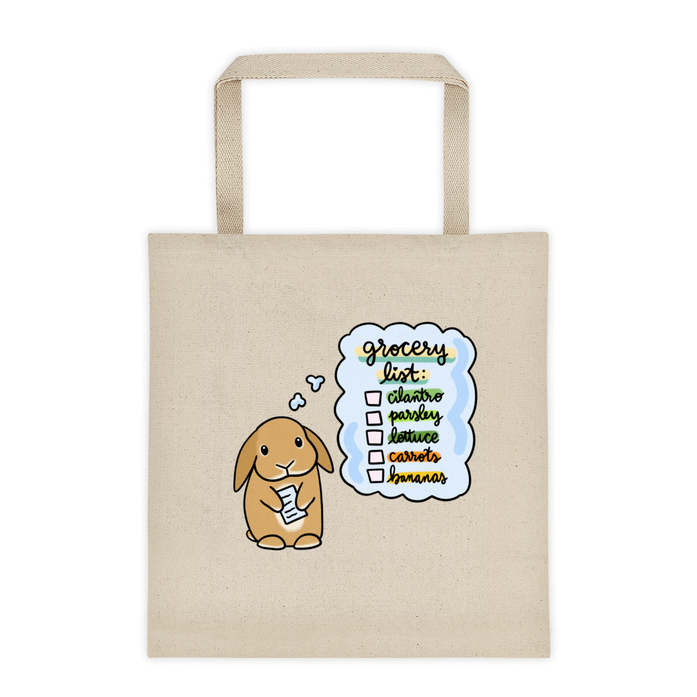 Bunny (Orange) Grocery List Tote bag