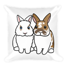Two Fluffy Sitting Bunnies Square Pillow