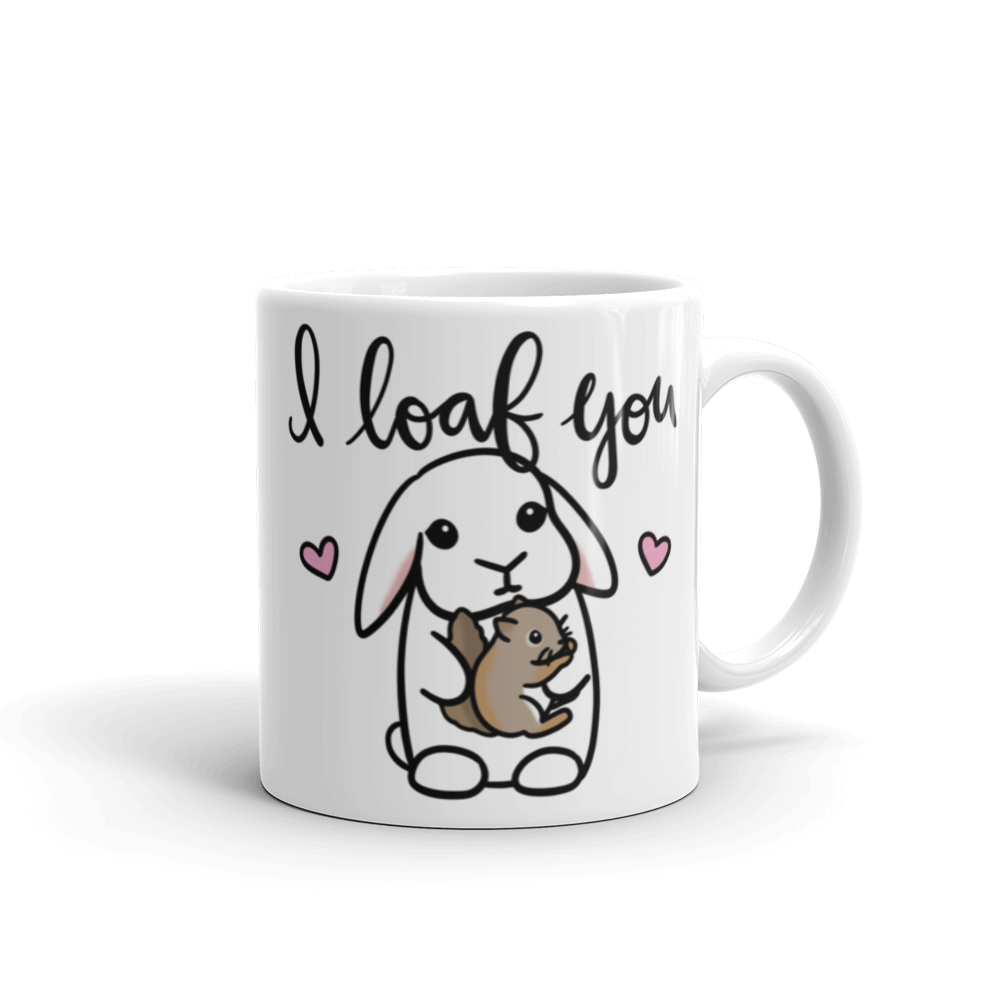 I Loaf You Bunny and Squirrel Mug