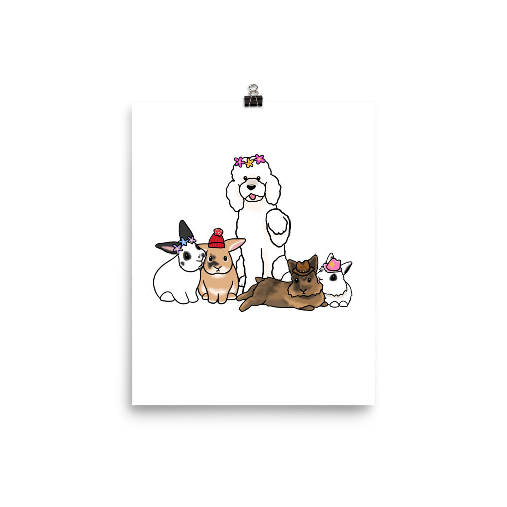 Poodle and Four Bunnies Hat Poster