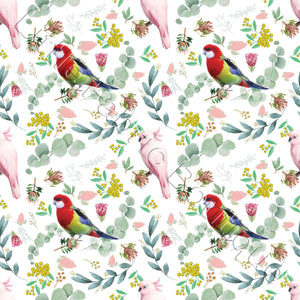 Lorikeets and Cockatiels White - Woven Cotton