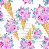 Ice Cream Bouquet Script - Double Brushed Poly | Online Fabric Shops