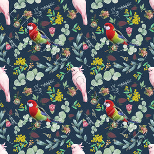 Lorikeets and Cockatiels Forest - Woven Cotton