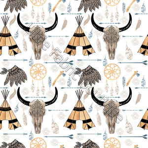 Pre-Order Aztec Longhorns and Teepees White Cotton Twill