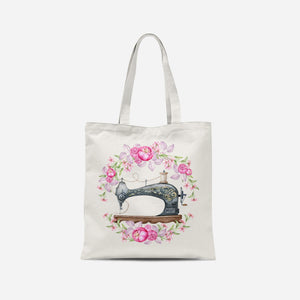 Black Floral Sewing Machine Tote Bag