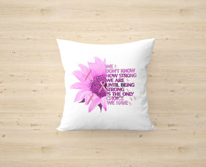 Breast Cancer Awareness Sunflower Cushion Cover