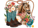 Horse and Cowgirl Boots Panel - Small Scale