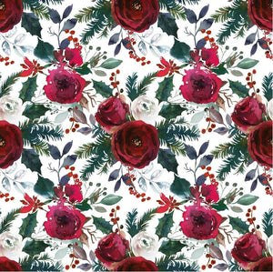 Christmas Roses - Woven Cotton