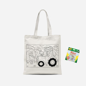 Colour Me In Farm Tractor Tote Bag And Marker Set
