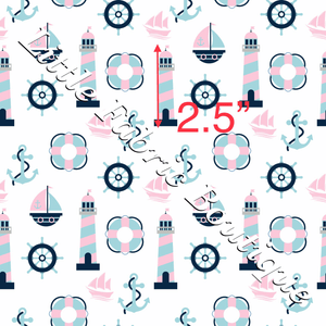 Pink and Navy Nautical - Knit 220gsm