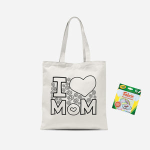 Colour Me In I Love Mom Tote Bag And Marker Set