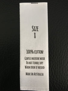 Size And Care Labels For 100% Cotton