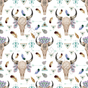 Longhorns and Feathers - Woven Cotton