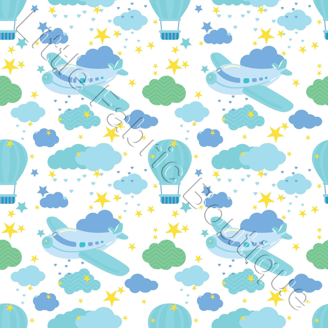 Nursery Airplanes Blue - Woven Cotton