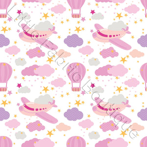 Nursery Airplanes Pink - Woven Cotton