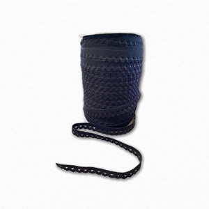 Black Decorative Edge Woven Elastic - 15mm