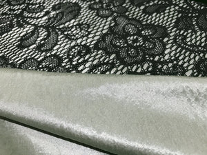 Black Bonded Lace on Olive Green Satin