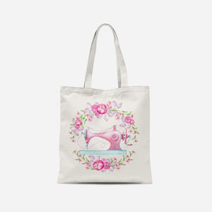 Pink Floral Sewing Machine Tote Bag