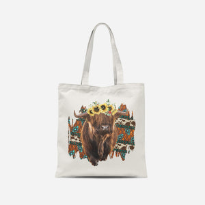 Sunflower Highland Cow Tote Bag
