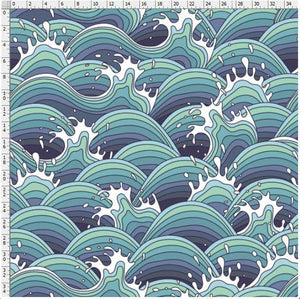 Ocean Waves - Cotton Twill