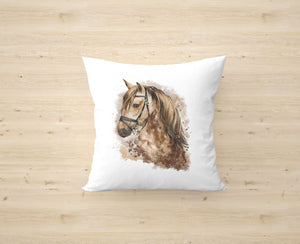 Watercolour Brown Horse Cushion Cover