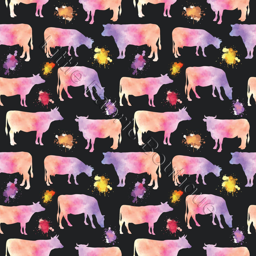Pre-Order Watercolour Cows Pink Black