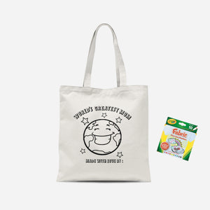 Colour Me In Worlds Greatest Mom Tote Bag And Marker Set