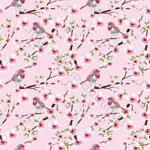 Pink Cherry Blossoms - Woven Cotton