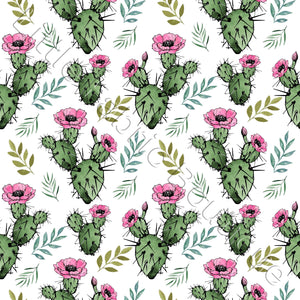 Prickly Cactus White - Woven Cotton